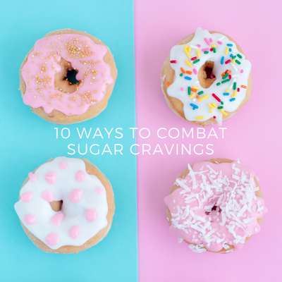 "Photo of 4 donuts with caption that reads ""10 Ways to Combat Sugar Cravings"""