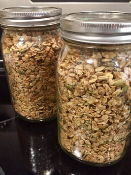 Two mason jars of granola