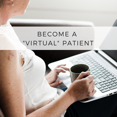 "Woman with laptop on lap and coffee cup in hand. Caption reads ""Become a virtual patient."""